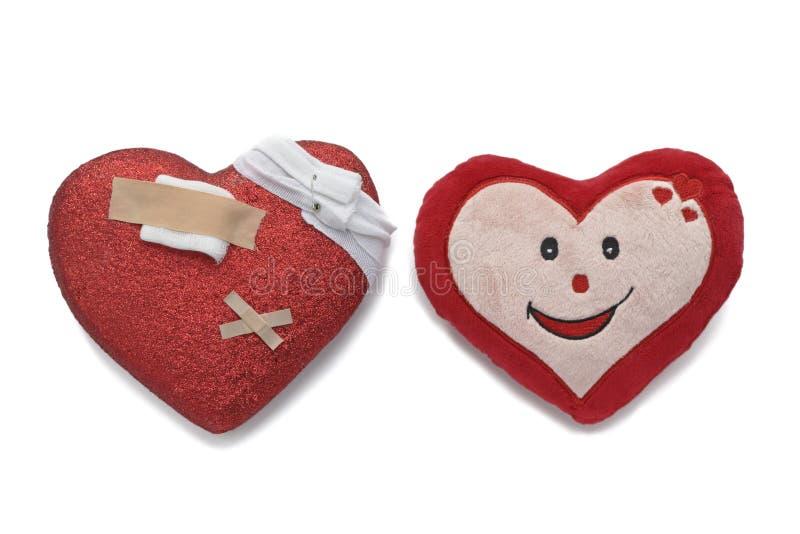Ziek hart en gezond hart royalty-vrije stock afbeelding