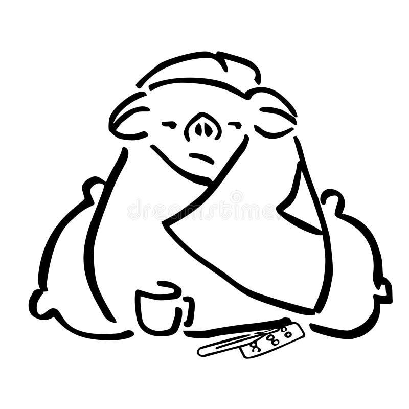 Ziek varken in een deken, hoofdkussens en meds royalty-vrije illustratie