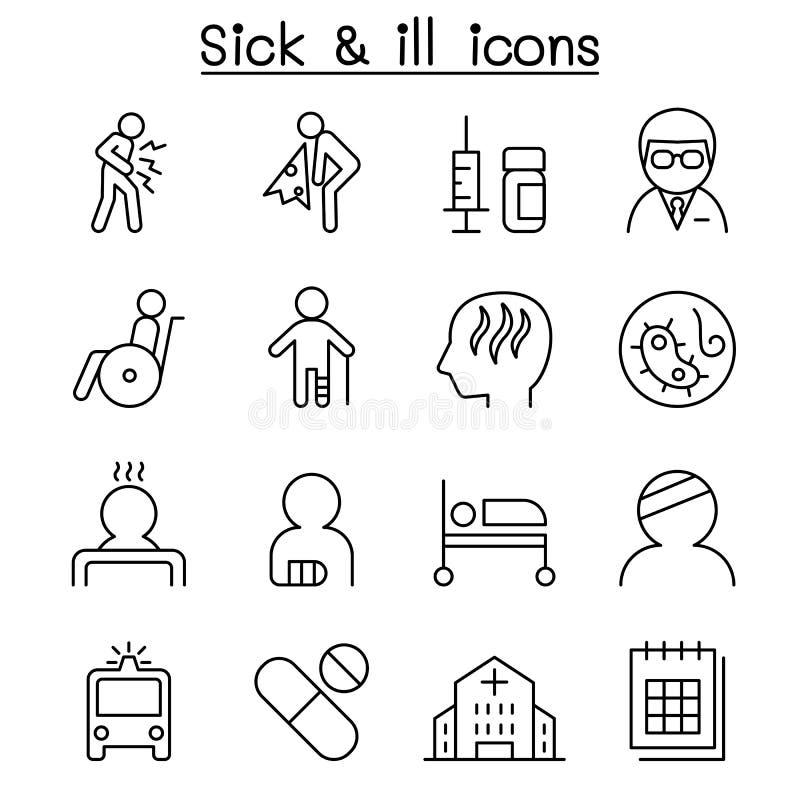 Ziek & Ziek die pictogram in dunne lijnstijl wordt geplaatst royalty-vrije illustratie