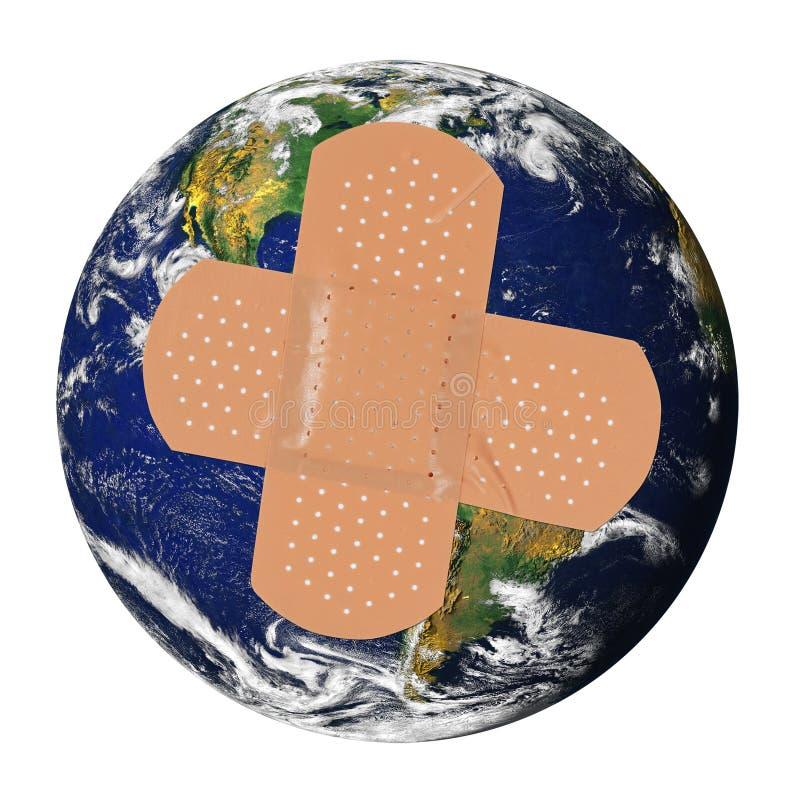 Zieke aarde met pleister stock illustratie