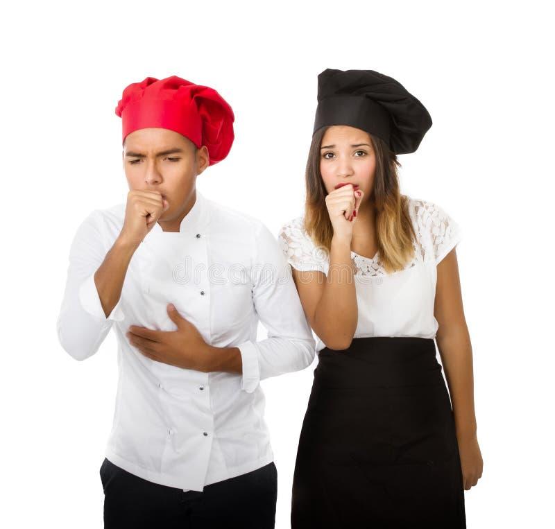 Zieke chef-kok stock afbeelding