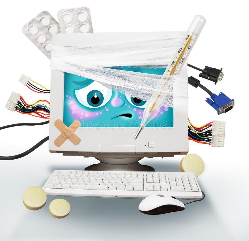 Zieke computer stock illustratie