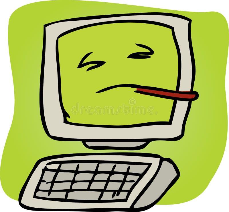 Zieke computer royalty-vrije illustratie