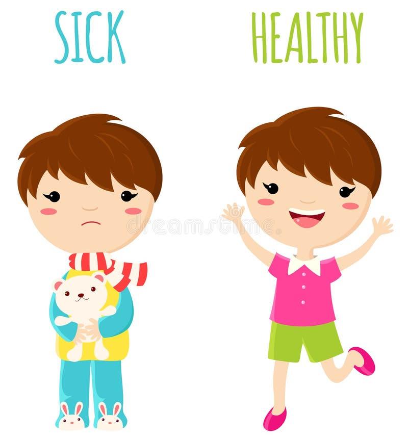 Zieke droevig weinig jongen en vrolijke gezonde springende jongen royalty-vrije illustratie