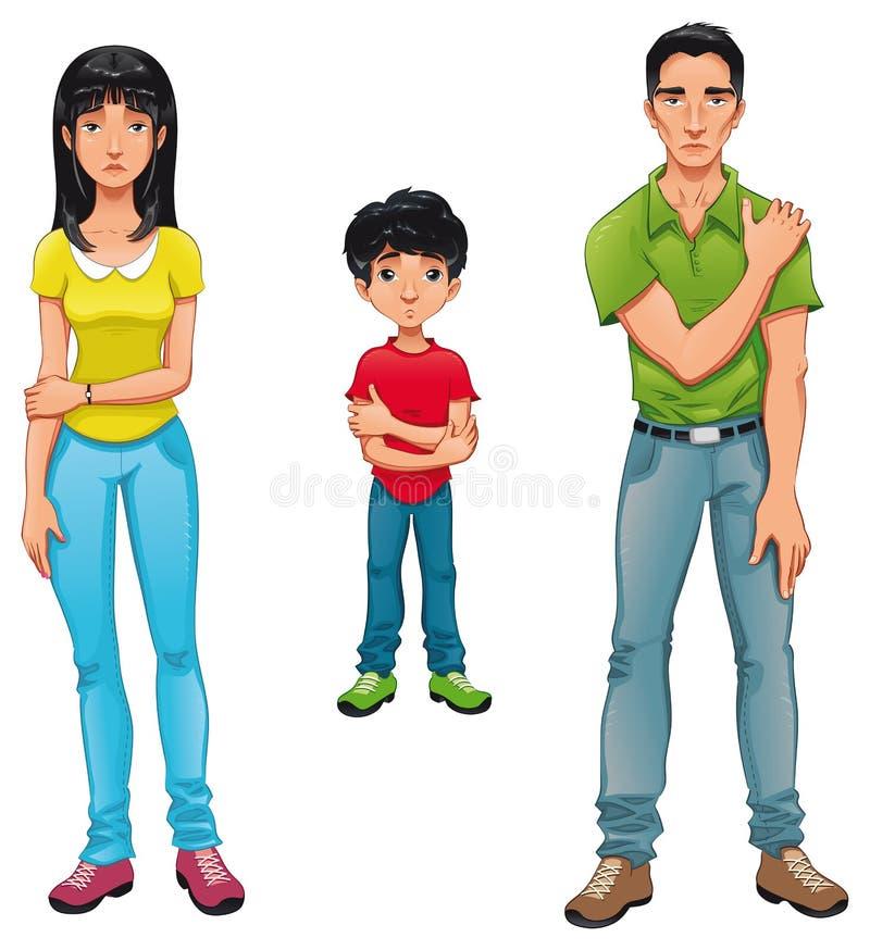 Zieke familie. vector illustratie