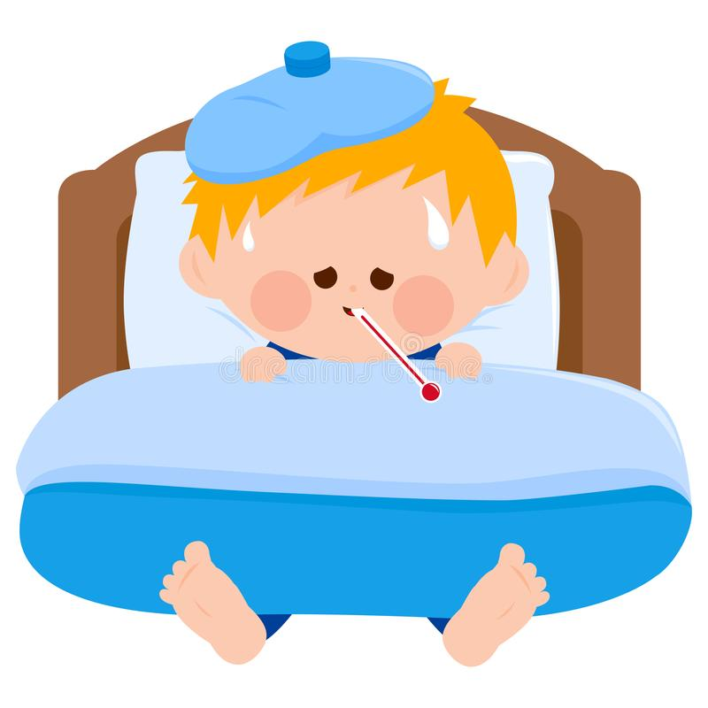 Zieke jongen in bed royalty-vrije illustratie