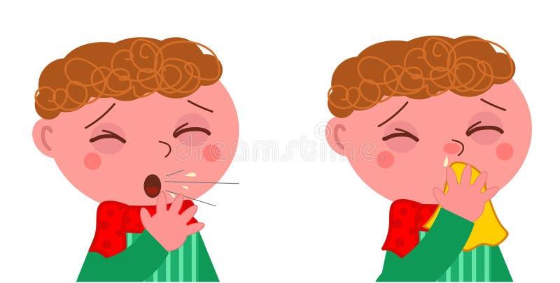 Zieke jongen met hoest en koude stock illustratie
