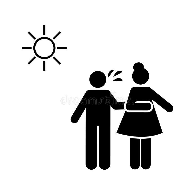 Zieke man, zon, persoon, vrouwenpictogram Element van systemisch lupupictogram Grafisch het ontwerppictogram van de premiekwalite royalty-vrije illustratie