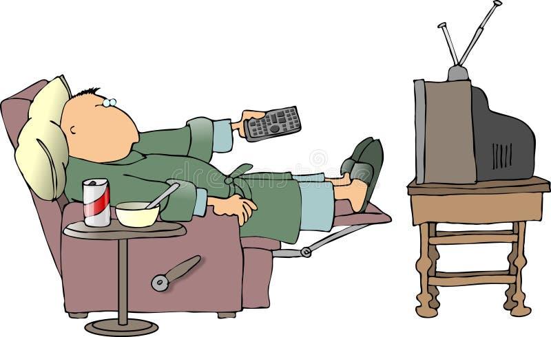 Zieke mens die op TV let vector illustratie