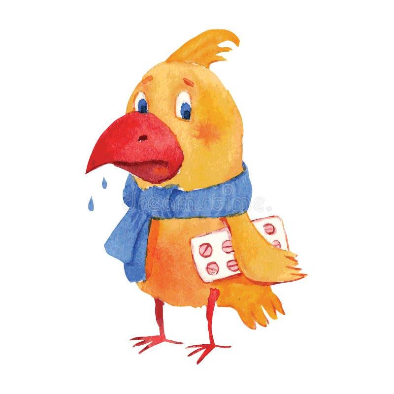 Zieke vogel royalty-vrije illustratie