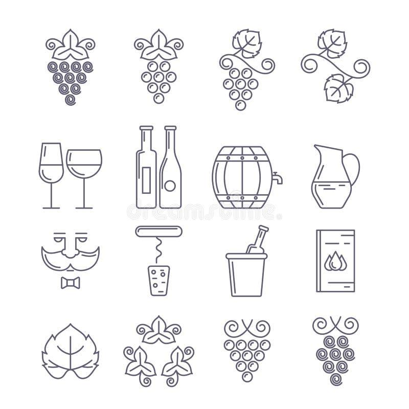 Zieke wijnfles, glas, wijnstok en blad, voedsel en dranklijn vector illustratie