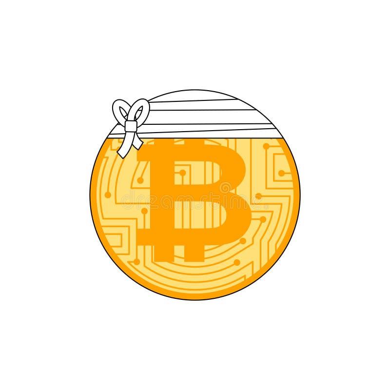 Zieken bitcoin Verbonden Cryptocurrency De daling van de conceptenbtc markt royalty-vrije illustratie