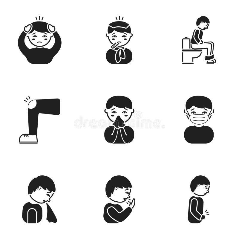 Zieken geplaatst pictogrammen in zwarte stijl Grote inzameling van de zieke vectorillustratie van de symboolvoorraad royalty-vrije illustratie