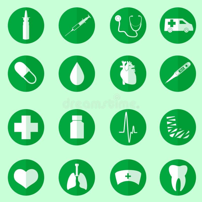 Ziekenhuis en medische die pictogrammen in cirkel wordt het geplaatst stock illustratie