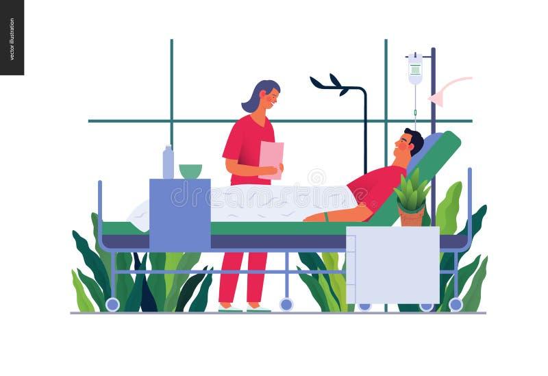 Ziekenhuisopname - medische verzekeringsillustratie vector illustratie