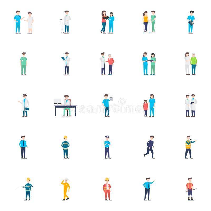 Ziekenhuispersoneel vlakke vectortekens stock illustratie