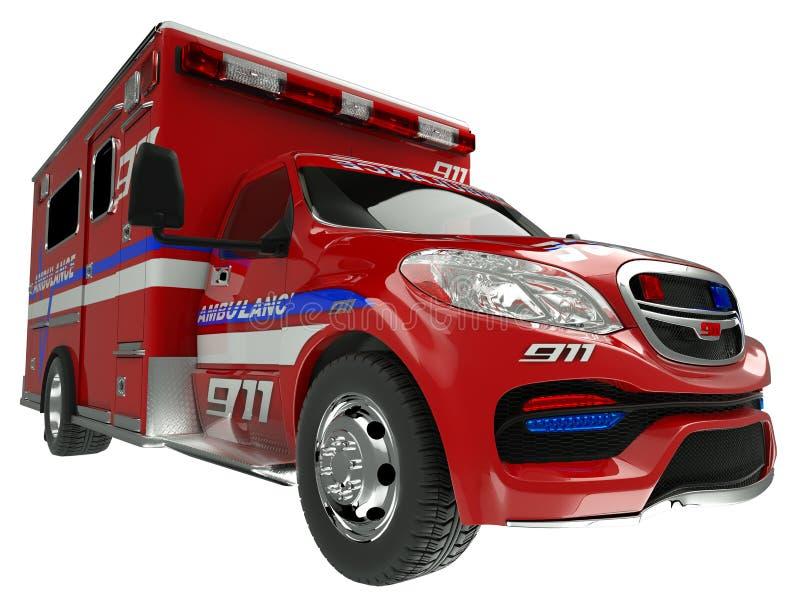 Ziekenwagen: brede hoekmening van hulpdienstenvoertuig op whit stock illustratie