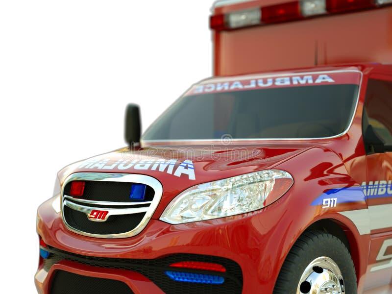 Ziekenwagen: Close-upmening van hulpdienstenvoertuig op wit royalty-vrije stock foto
