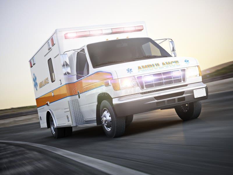 Ziekenwagen die met lichten en sirenes op een straat met motieonduidelijk beeld lopen vector illustratie