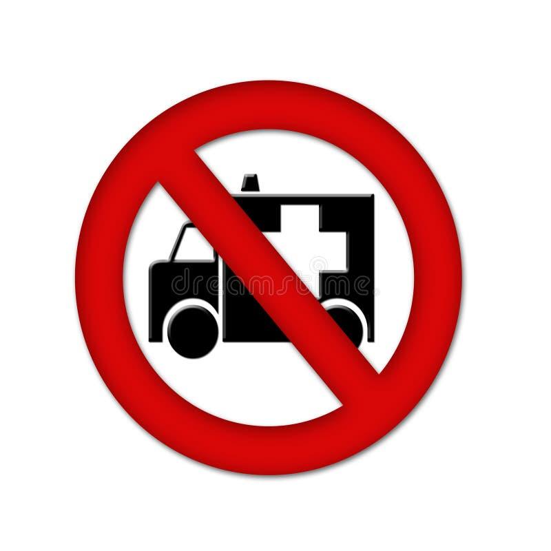 Ziekenwagen en een rood eindeteken stock illustratie