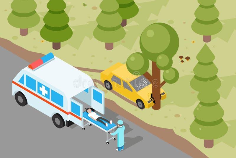 ziekenwagen Evacuatie van het noodsituatie de medische ongeval stock illustratie
