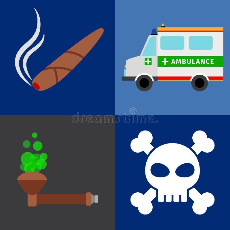 Ziekenwagen, tabaksdrugs, doodspictogrammen stock illustratie