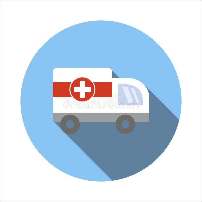 Ziekenwagen vlak pictogram royalty-vrije illustratie