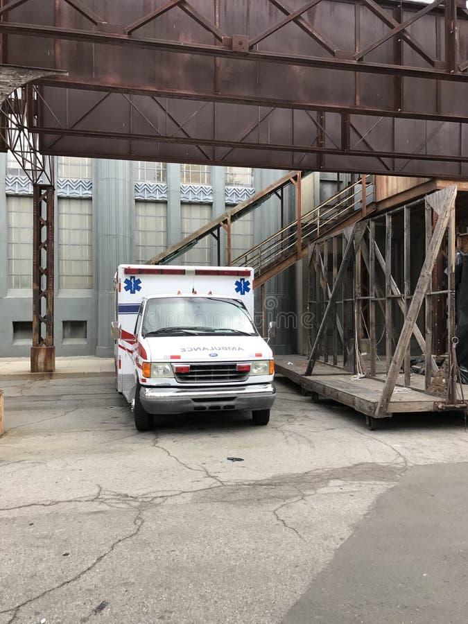 Ziekenwagen in Warner Brothers Studio in La stock afbeelding