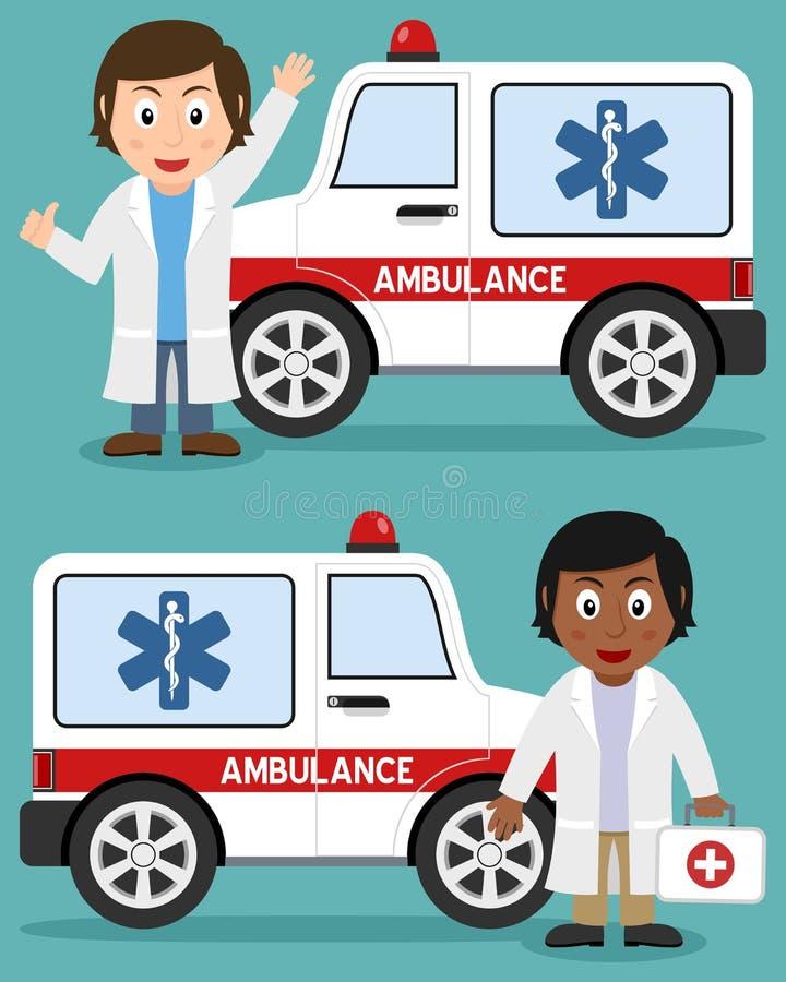 Ziekenwagenauto en Vrouwelijke Artsen stock illustratie