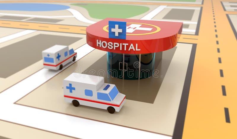 Ziekenwagenauto, het ziekenhuis, helihaven royalty-vrije illustratie