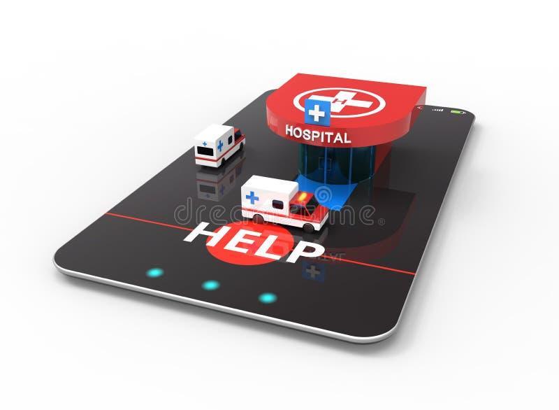 Ziekenwagenauto, het ziekenhuis, helihaven stock illustratie