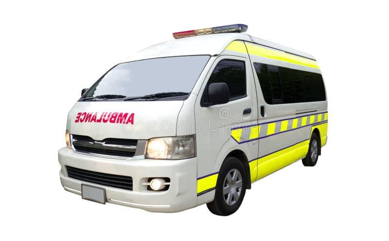 Ziekenwagenauto op witte achtergrond van dossier met het Knippen van Weg wordt geïsoleerd die stock fotografie