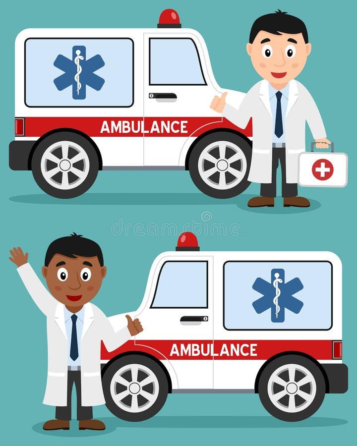 Ziekenwagenauto & Witte en Zwarte Arts stock illustratie