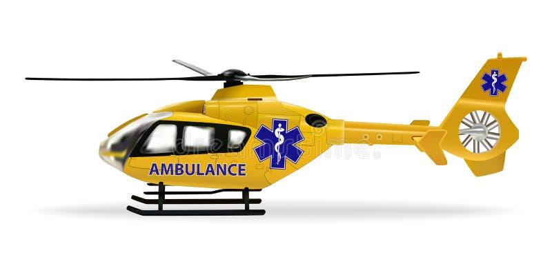 Ziekenwagenhelikopter Luchtziekenwagen, luchtvervoer wordt ontworpen om zieken of gelaedeerden over lange afstanden te vervoeren  vector illustratie