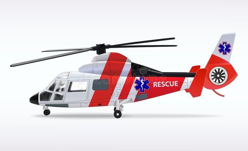 Ziekenwagenhelikopter Medische sanitaire luchtvaart De de reddingsdienst van de vervoerlucht Vector illustratie stock illustratie
