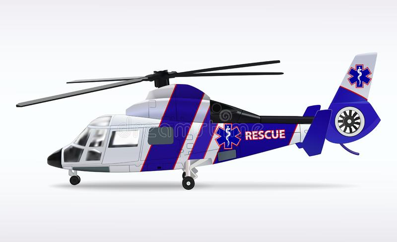 Ziekenwagenhelikopter Medische sanitaire luchtvaart De de reddingsdienst van de vervoerlucht Witte en blauwe fuselage Vector vector illustratie