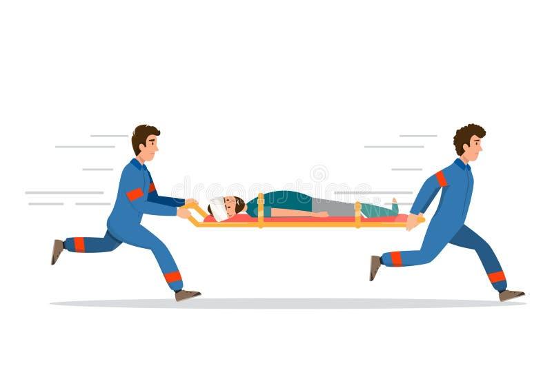 Ziekenwagenmedische hulp bij noodgevallen het personeel vervoert pati?nt in brancard stock illustratie