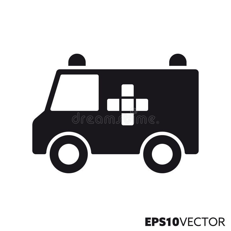 Ziekenwagenvan vector glyph pictogram vector illustratie