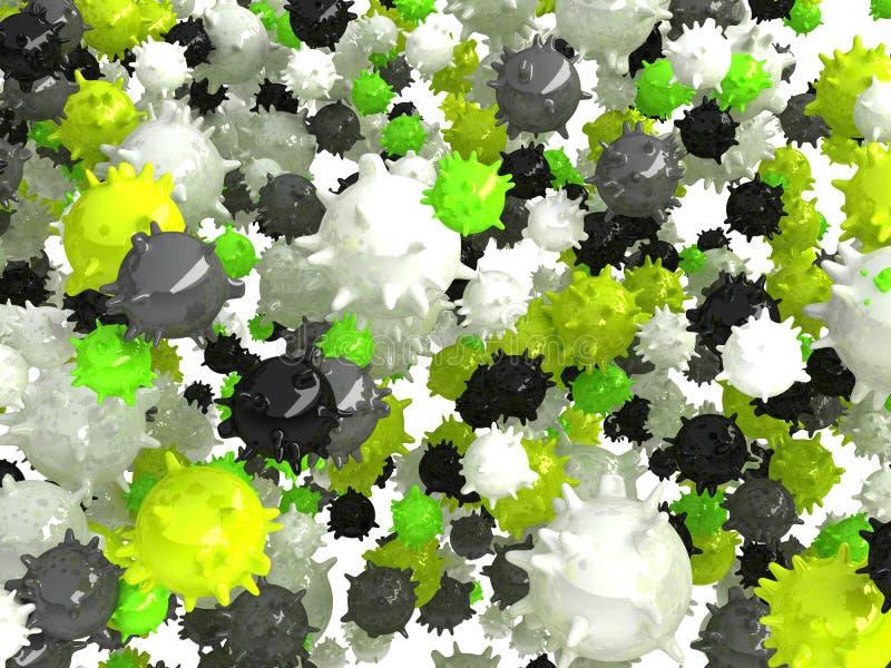 Ziekte: Verspreiding van geïsoleerde virussen en bacterias stock illustratie