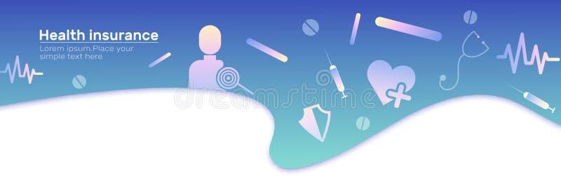 Ziektekostenverzekering vectorbanner met pictogram De achtergrond van het Web Medische reeks Kopbal - medische Dekkingshuiseigena royalty-vrije illustratie