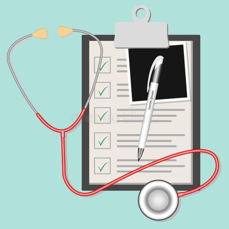 Ziektekostenverzekeringdocument met dwarsteken, medische geïsoleerde overeenkomst over achtergrond Kliniek kenmerkend rapport ove royalty-vrije illustratie