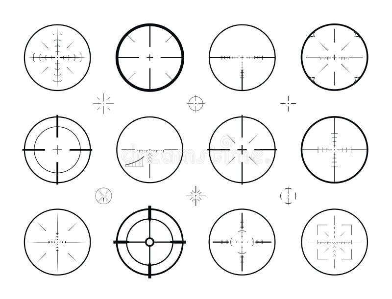 Ziel, Anblickscharfschützesatz von Ikonen Jagd, Gewehrbereich, Fadenkreuzsymbol Auch im corel abgehobenen Betrag stock abbildung