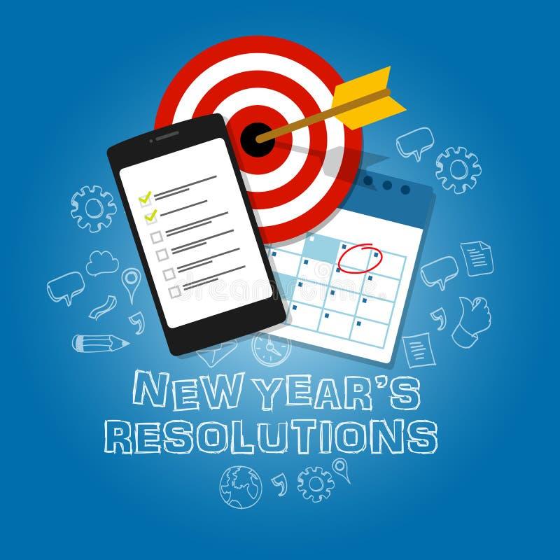 Ziel-Aufgabenlistenkalender des Neujahrsvorsätzeillustrationsvektors flacher stock abbildung