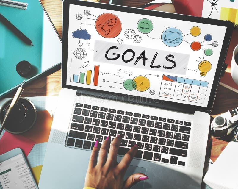 Ziel-Daten-Auftrag-Ziel-Aspirations-Konzept lizenzfreie stockbilder