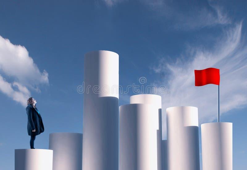 Ziel der roten Fahne stockbild