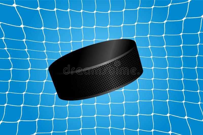 Ziel - ein Hockey-Puck im Netz stock abbildung