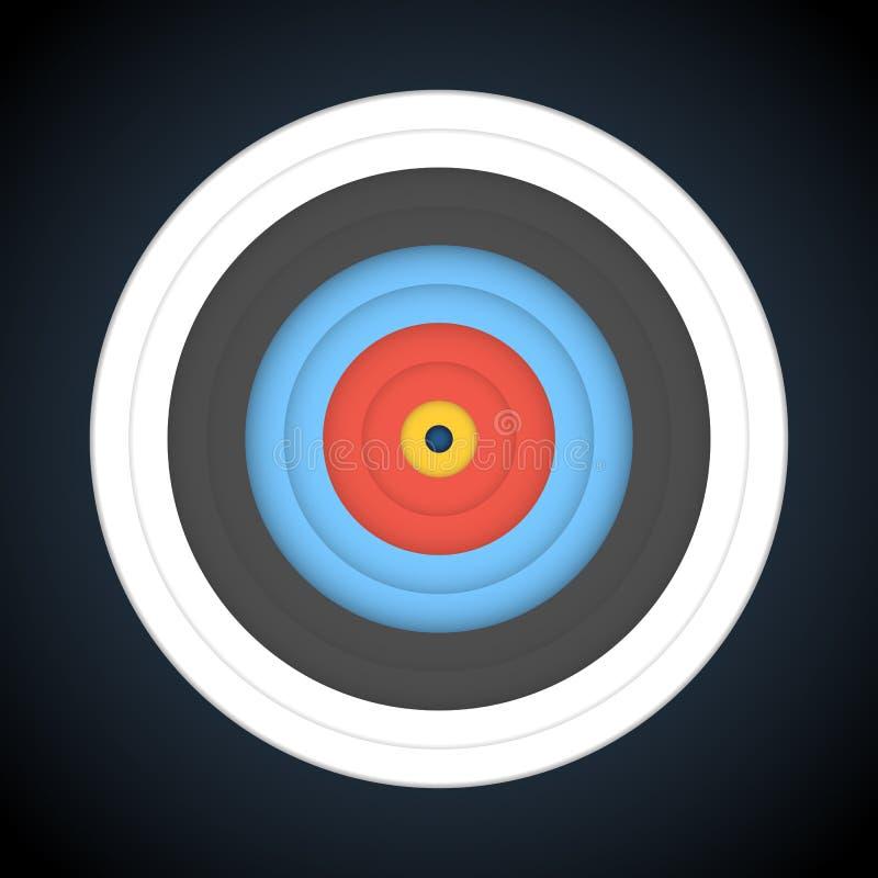 Ziel für Bogenschießen auf dunklem Hintergrund Auch im corel abgehobenen Betrag vektor abbildung