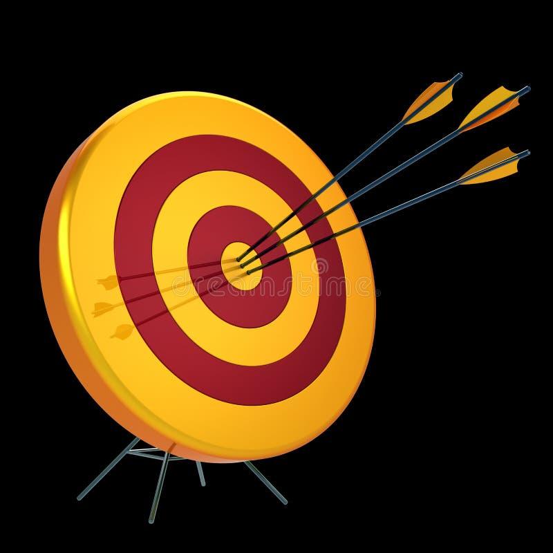 Ziel geschlagen in der Mitte durch Bullaugen-Bogenschießenschießen mit drei Pfeilen lizenzfreie abbildung
