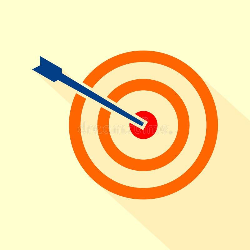 Ziel-Ikonen-Vektor Ziel mit einem Ikonenkonzeptmarktzielvektor-Bildbild des Pfeiles flachen stock abbildung