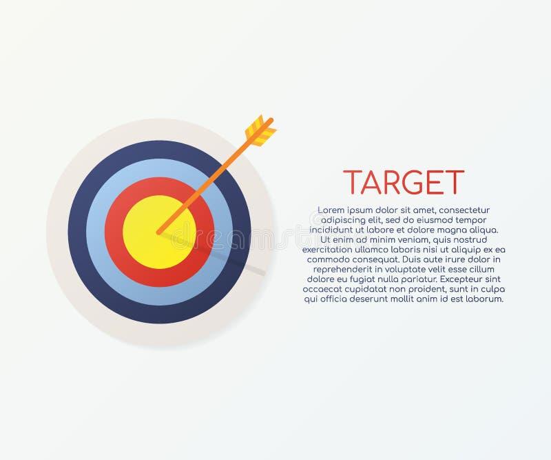 Ziel mit einem Ikonenkonzeptmarktzielvektor-Bildbild des Pfeiles flachen Konzeptzielmarkt, Publikum, Gruppe, Verbraucher stock abbildung